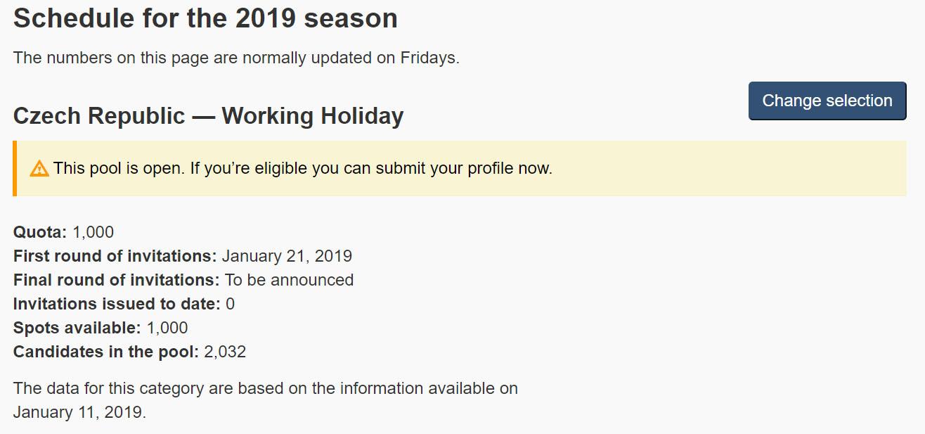 Working holiday Kanada - otevření kvóty 2019