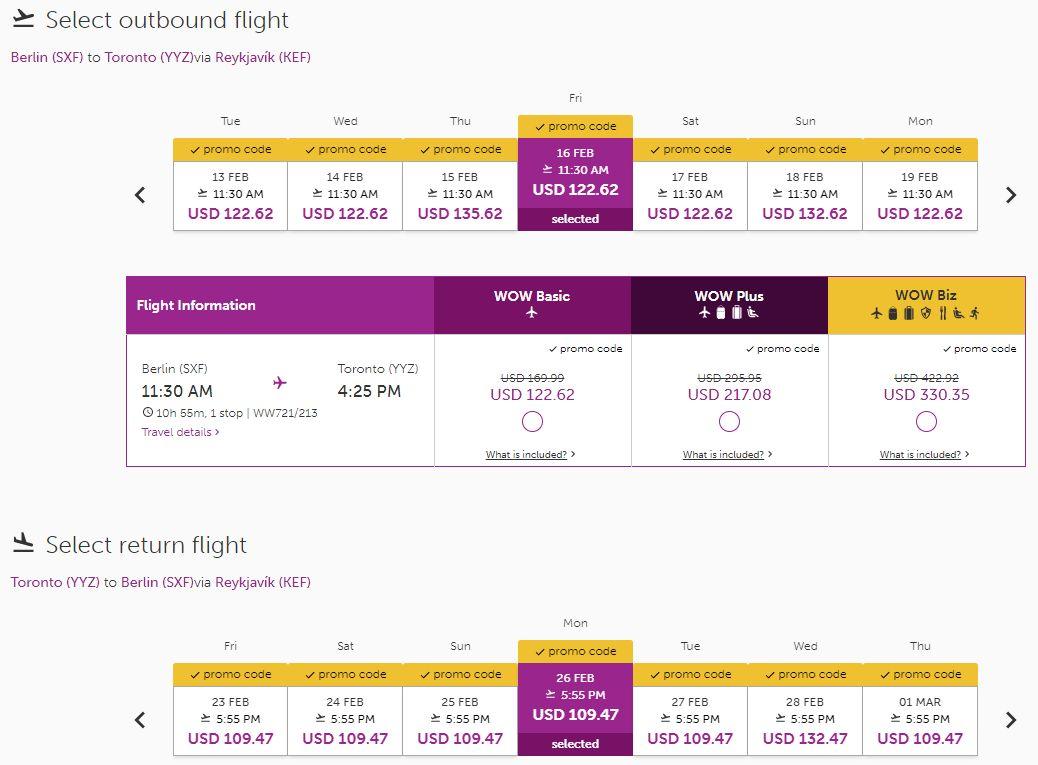 Příklad letenky z Berlína do Toronta za 5 040 Kč v únoru 2018