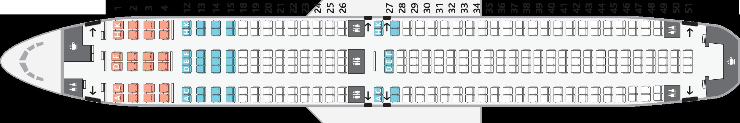 Konfigurace sedadel v Boeingu 767-300ER Air Canada Rouge
