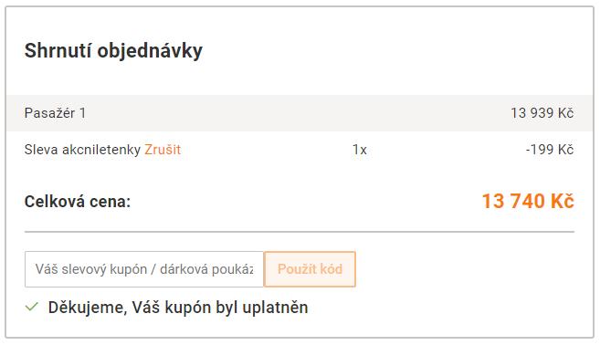 Konečná cena zpáteční letenky z Prahy do Toronta na pelikan.cz po využití slevového kupónu