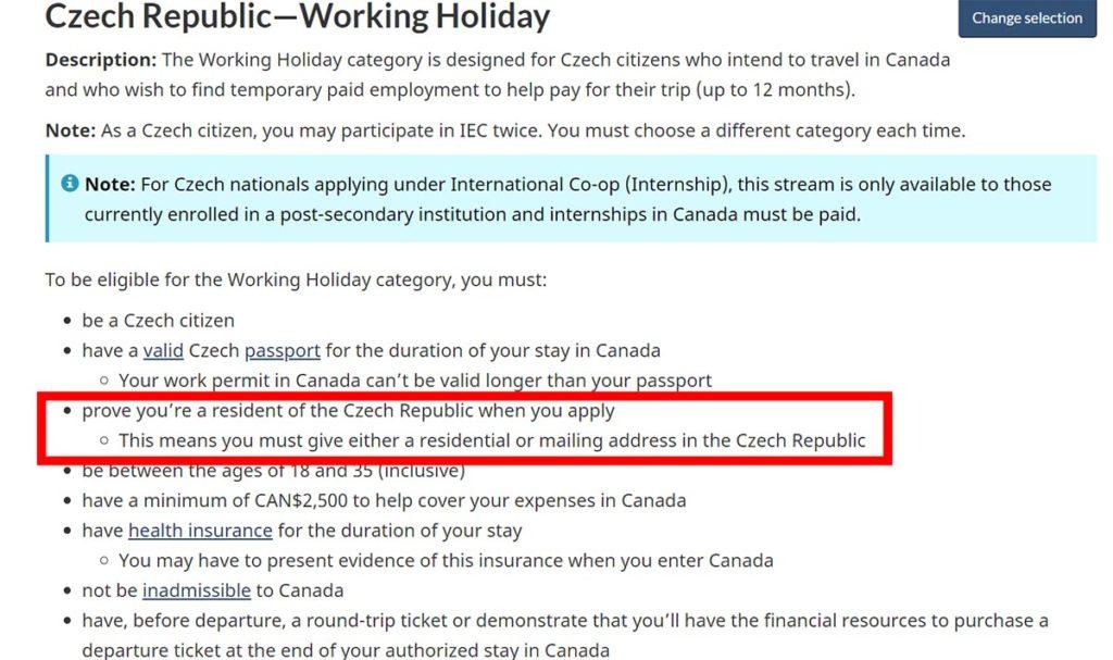 WH Kanada - žádost ze zahraničí