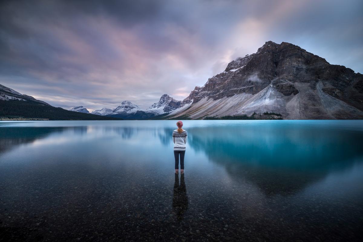 Rozhovor Martina Gebarovská - Brzké ráno na Bow Lake, Kanada 2017, selfportrait