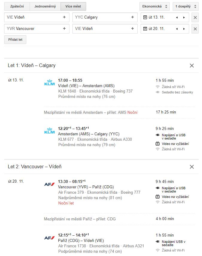 Příklad multicity letenky Vídeň – Calgary/Vancouver – Vídeň v listopadu