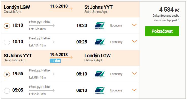 Letenky z Londýna do St. John's