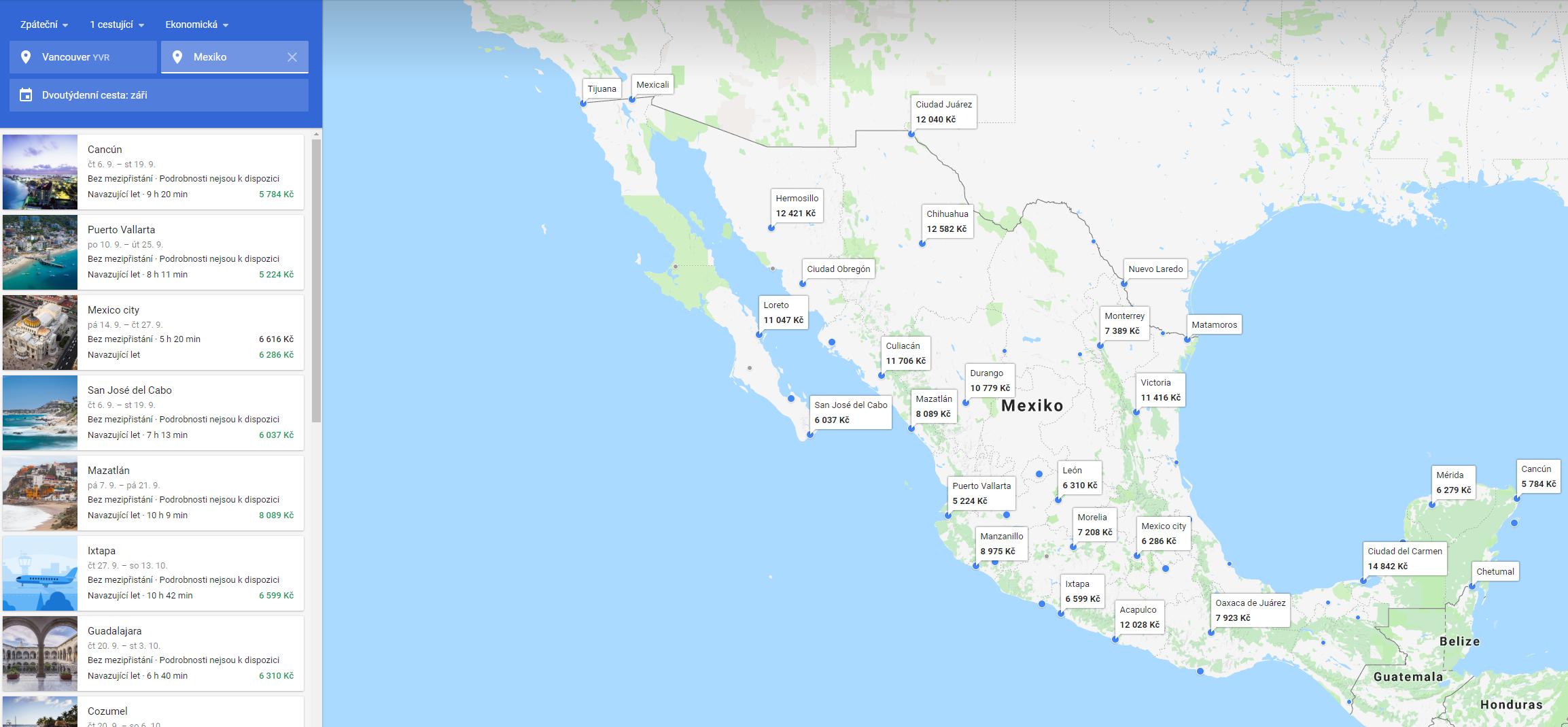 Levné letenky z Vancouveru do Mexika na Google Flights