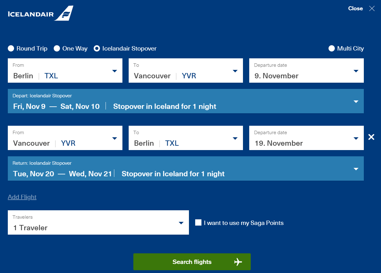 Ukázka nastavení stopoveru na webu Icelandair