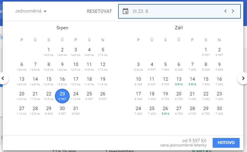 Google Flights a kalendář s nejlevnějšími letenkami
