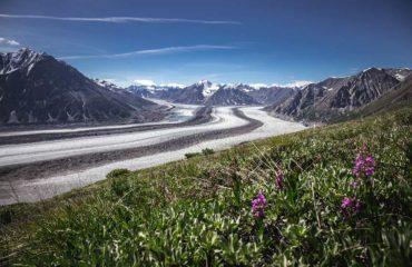 Výhled na ledovec Kaskawulsh Glacier z Observation Mountain