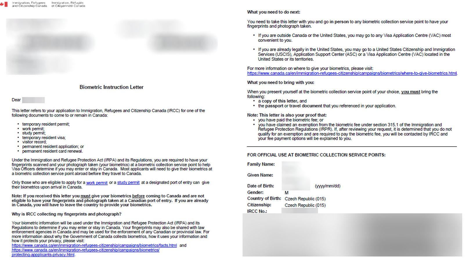 Biometrické údaje Kanada - dopis