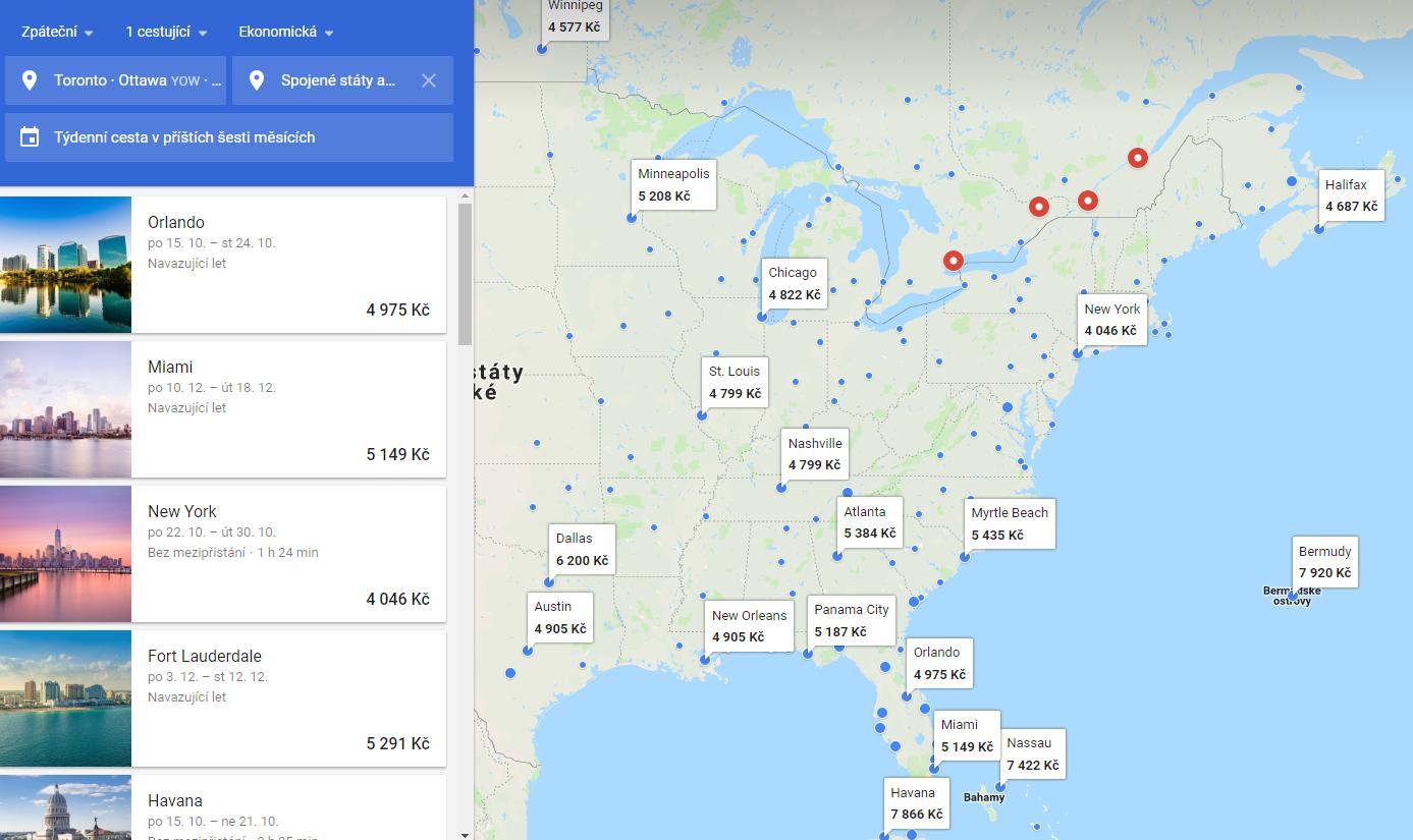 Google Flights a ceny zpátečních letenek z východní Kanady do USA