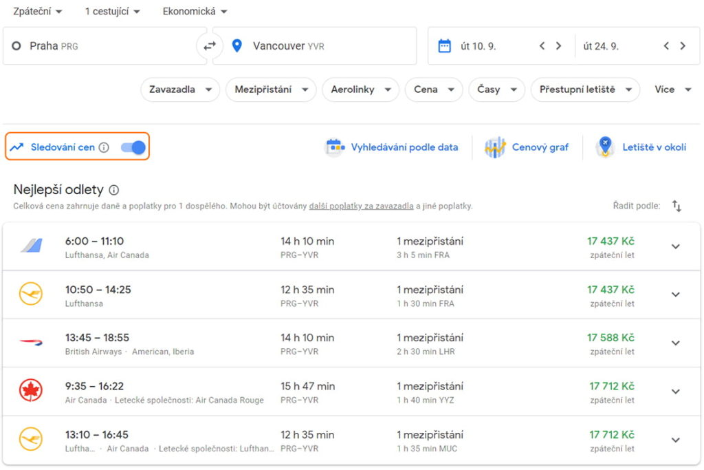 Jak sledovat cenu letenky na Google Flights