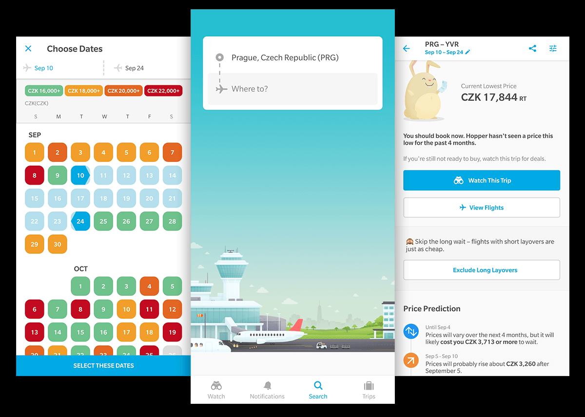 Aplikace na hlídání cen letenek Hopper