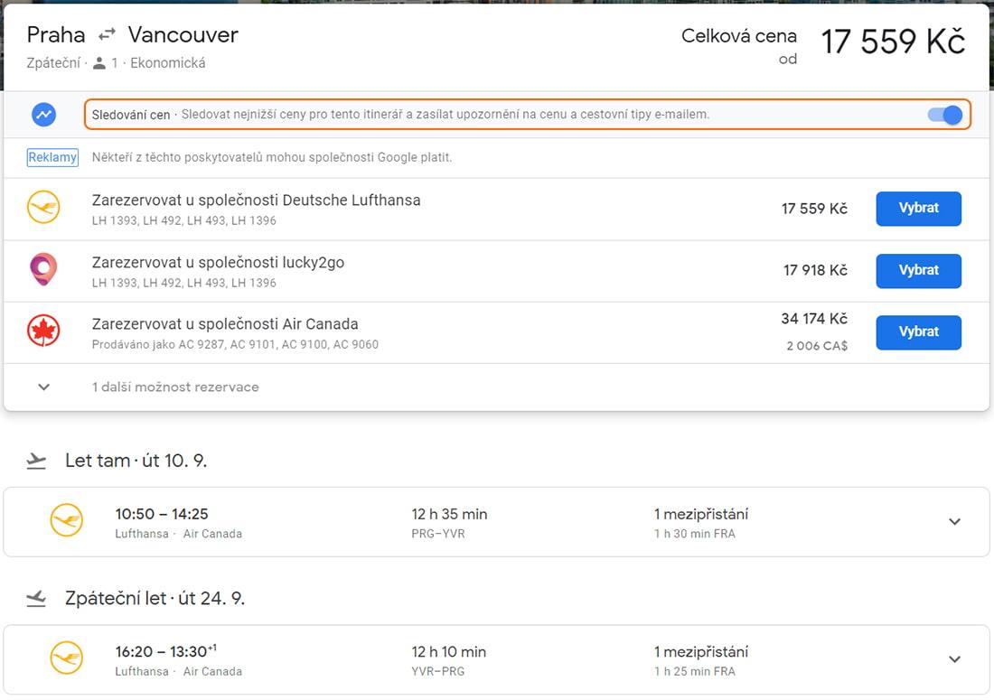 Sledování ceny letenky konkrétního letu na Google Flights