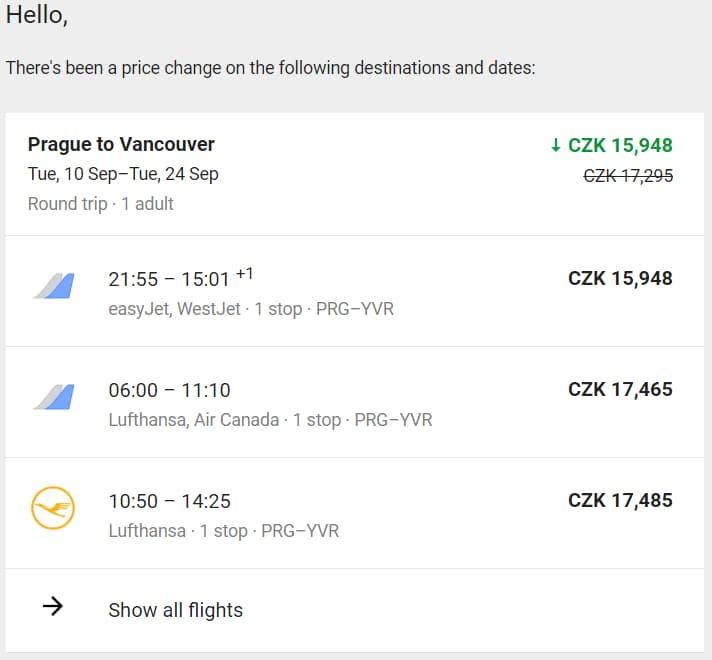 Upozornění na změnu ceny letenky od Google Flights