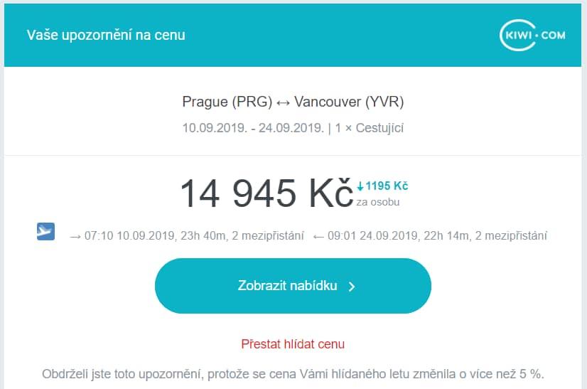 Upozornění na změnu ceny letenky od Kiwi