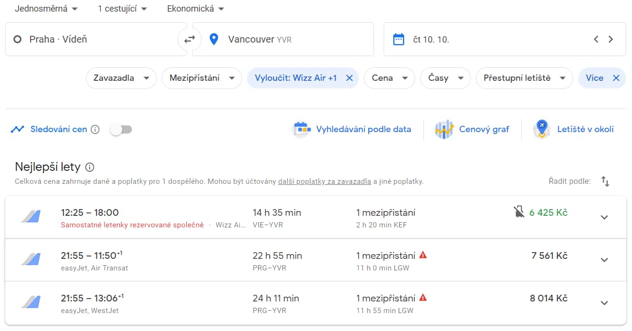 Vyhledání letenky z Prahy a Vídně do Vancouveru na Google Flights