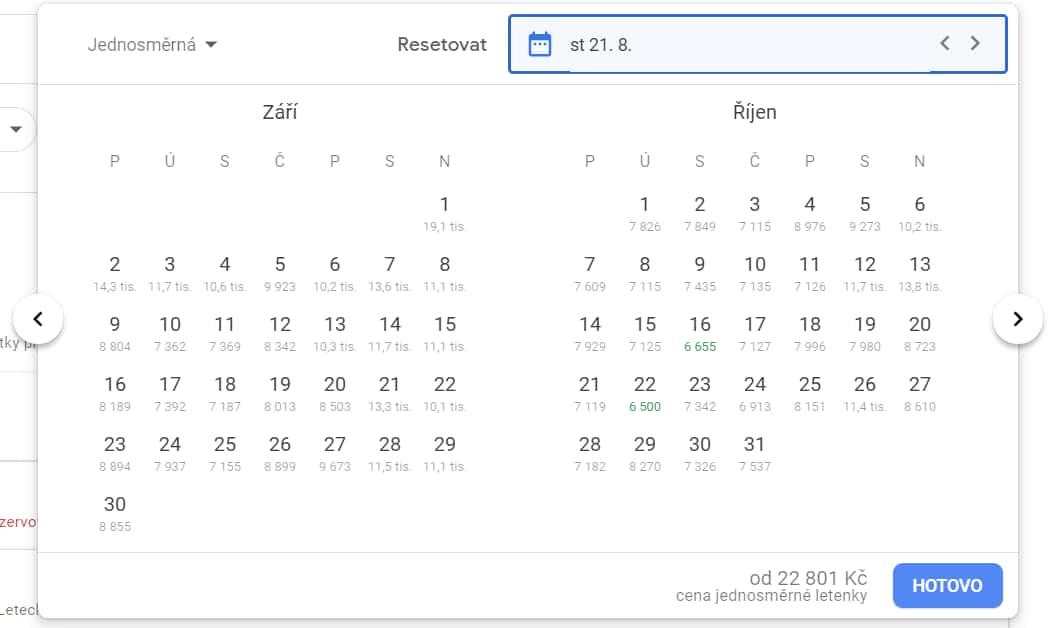 Kalendář s cenami jednosměrných letenek z Prahy do Toronto v září a říjnu 2019