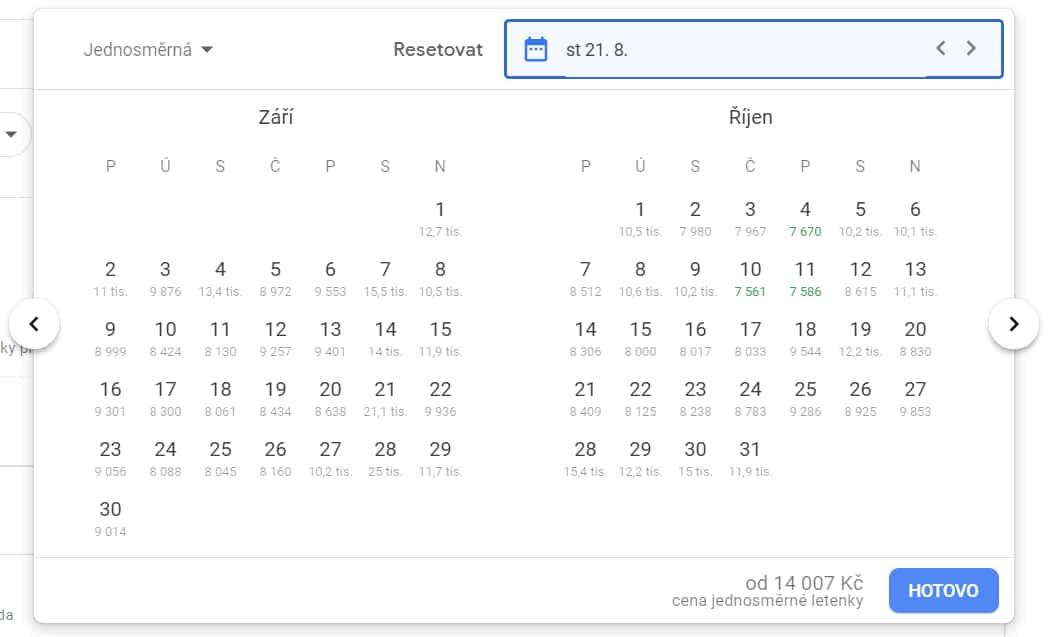 Kalendář s cenami jednosměrných letenek z Prahy do Vancouveru v září a říjnu 2019