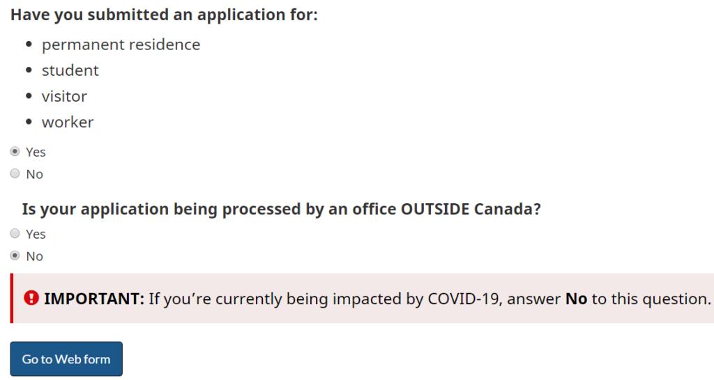 Webform - žádost o prodloužení POE Kanada