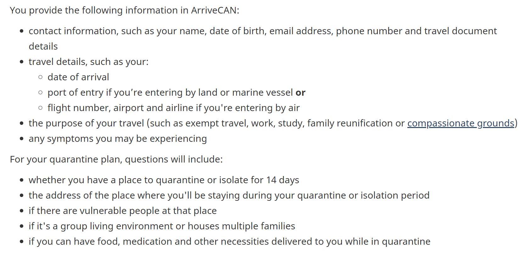 ArriveCAN - otázky před cestou do Kanady v povinné aplikaci