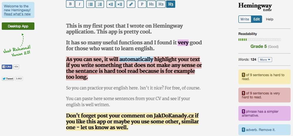 Hemingway english editor aplikace angličtina