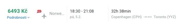 Jednosměrná letenka do Toronta z Kodaně za 6493kč
