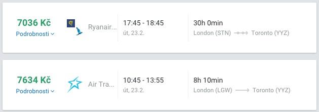 Letenky do Kanady z Londýna za 7 tisíc