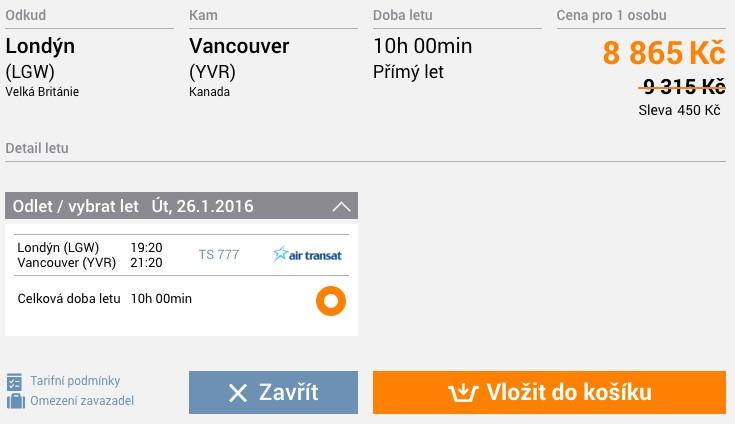Letuska letenky do Vancouveru za 8 tisíc