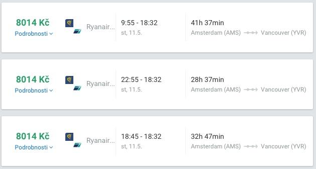 Levně do Kanady Vancouver Amsterdam 8014kč